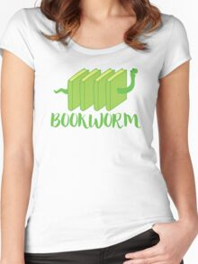 Bookworm in green (with worm) Women's Fitted Scoop T-Shirt