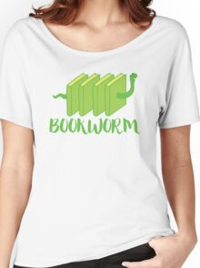 Bookworm in green (with worm) Women's Relaxed Fit T-Shirt