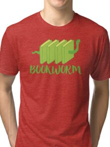 Bookworm in green (with worm) Tri-blend T-Shirt
