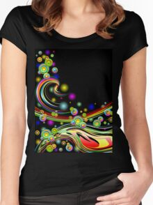 Rainbow Colors Abstract Swirls on Black Women's Fitted Scoop T-Shirt
