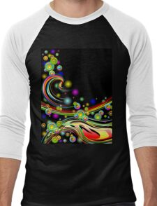 Rainbow Colors Abstract Swirls on Black Men's Baseball ¾ T-Shirt