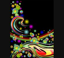 Rainbow Colors Abstract Swirls on Black Unisex T-Shirt