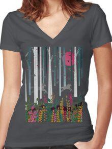 Flying Horses Women's Fitted V-Neck T-Shirt