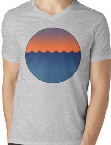 Waves Sunset Mens V-Neck T-Shirt
