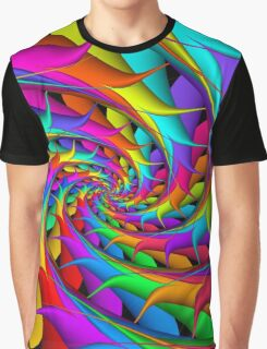Psychedelic Rainbow 3D Spiral Graphic T-Shirt