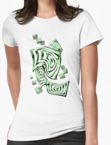 Green squares Womens Fitted T-Shirt