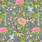 Bamboo, Birds and Blossom - grey by micklyn