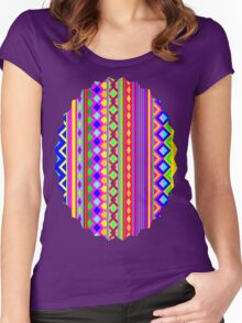 Aztec Psychedelic Chevron Pattern Women's Fitted Scoop T-Shirt