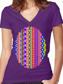 Aztec Psychedelic Chevron Pattern Women's Fitted V-Neck T-Shirt