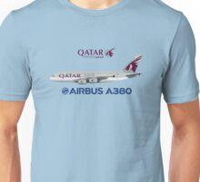 Illustration of Qatar Airways Airbus A380 - Blue Version Unisex T-Shirt