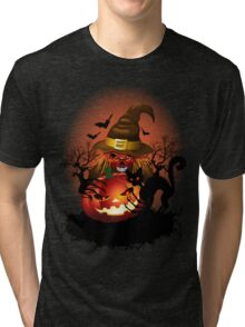 Skull Witch Creepy Halloween Tri-blend T-Shirt