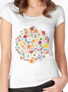 Spring Flowers Pattern Women's Fitted Scoop T-Shirt