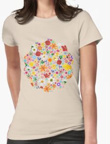 Spring Flowers Pattern Womens Fitted T-Shirt