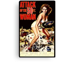 Retro Vintage Drive in Movie Attack of the 50 ft. Woman Canvas Print