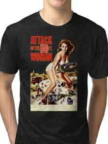 Retro Vintage Drive in Movie Attack of the 50 ft. Woman Tri-blend T-Shirt