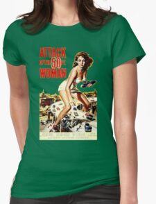 Retro Vintage Drive in Movie Attack of the 50 ft. Woman Womens Fitted T-Shirt