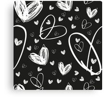 hand drawn white hearts Canvas Print