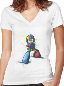 """Mega Shooter"" Women's Fitted V-Neck T-Shirt"