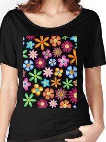 Spring Flowers Colorful Naif Design Women's Relaxed Fit T-Shirt