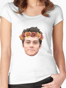 Dylan O'Brian Flower Crown Women's Fitted Scoop T-Shirt