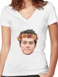 Dylan O'Brian Flower Crown Women's Fitted V-Neck T-Shirt