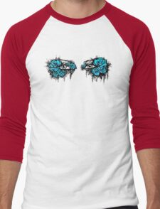 If I could hide your eyes behind the roses - blue version Men's Baseball ¾ T-Shirt