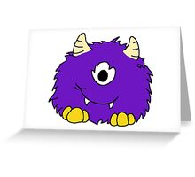 Fuzzy Little Monsters - Purple Greeting Card