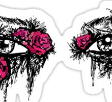 If I could hide your eyes behind the roses - red version Sticker