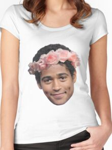 Alfred Enoch Flower Crown Women's Fitted Scoop T-Shirt