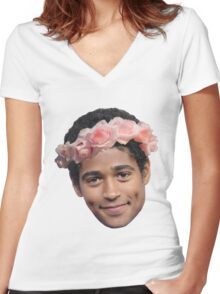 Alfred Enoch Flower Crown Women's Fitted V-Neck T-Shirt