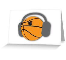 CRAZY headphones BASKETBALL Greeting Card