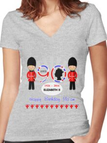 The Queens 90th Birthday Commemorative Design  Women's Fitted V-Neck T-Shirt