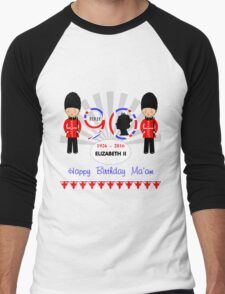 The Queens 90th Birthday Commemorative Design  Men's Baseball ¾ T-Shirt