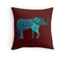 Elephantine Doodle Teal Throw Pillow