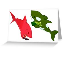 Red Shark and Orca Greeting Card