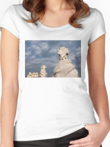 Whimsical Chimneys - Antoni Gaudi's Casa Mila Rooftop Women's Fitted Scoop T-Shirt