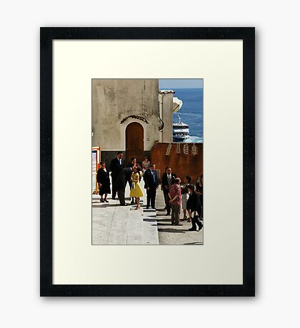 Greeting the Groom Framed Print