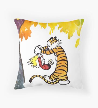 Calvin and Hobbes Playing  Throw Pillow