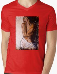 Weiblicher Akt mit Tuch Mens V-Neck T-Shirt