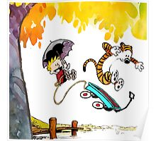 Calvin and Hobbes Playing Water Poster