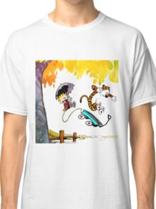 Calvin and Hobbes Playing Water Classic T-Shirt