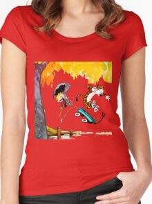 Calvin and Hobbes Playing Water Women's Fitted Scoop T-Shirt