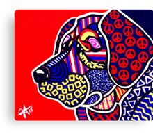 The Peace Keeper Designer Dog Design Retriever Hunting Chesapeake Puppy Peace Sign Peaceful Fun Bright Colorful Art Lab  Canvas Print