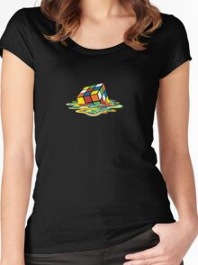 Melted Rubik's Cube Women's Fitted Scoop T-Shirt
