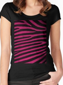 Pink Leather skin of zebra patterned background Women's Fitted Scoop T-Shirt