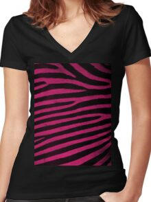 Pink Leather skin of zebra patterned background Women's Fitted V-Neck T-Shirt
