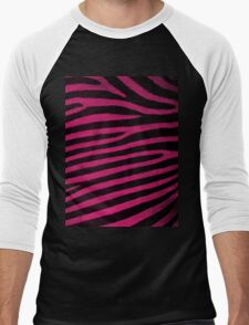 Pink Leather skin of zebra patterned background Men's Baseball ¾ T-Shirt