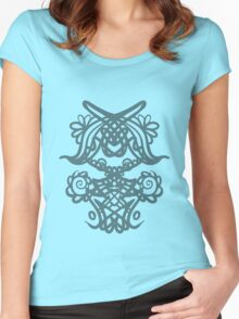 ink floral pattern Women's Fitted Scoop T-Shirt
