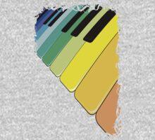 Piano Keyboard Rainbow Colors  One Piece - Long Sleeve