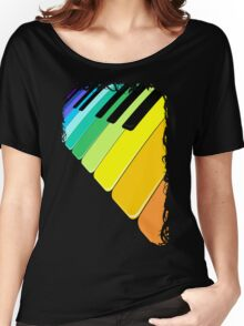 Piano Keyboard Rainbow Colors  Women's Relaxed Fit T-Shirt